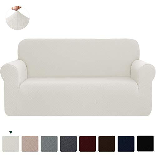 CHUN YI Stretch Sofa Slipcovers 1-Piece Couch Cover Furniture Protector Arm Chair Loveseat Coat Soft High Elastic Material, Checks Spandex Rhombus Fabric(Medium,Cream White)