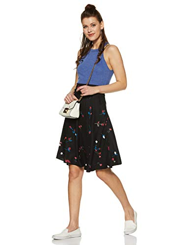 DJ&C by Fbb Women's Asymmetric Midi Skirt (1001232311_Black_XS)