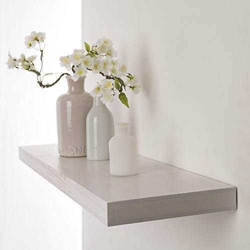 Duraline Wandplank met decoratieve plank, zwevend wandrek, zelfdragend plank Pawlonia Whithe | 80 x 23,5 x 3,8 cm | wit, wit