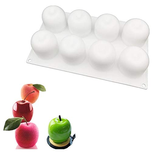 8 Holes 3D Apple Shape Silicone Molds Cake Decorating Tool Bakeware French Dessert Mousse Cake Mold Baking Cupcake Silicone Mousse Mould Bakeware Pan Baking Mat - 29x17x6cm