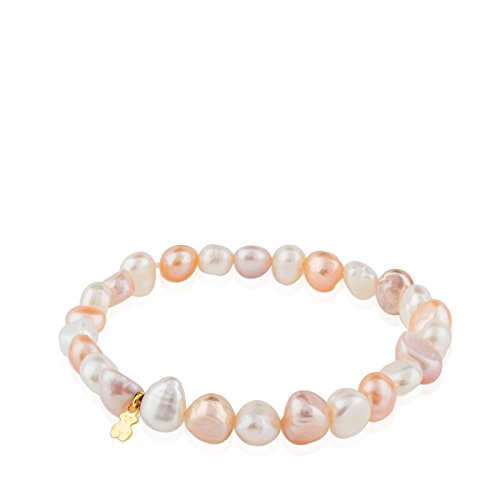 TOUS Pearls 18k Yellow Gold Stretch Bracelet with Multicolor Chinese Freshwater Cultured Pearl 7.0-7.5 mm