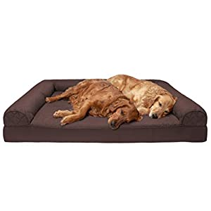 Furhaven Pet Dog Bed – Orthopedic Quilted Traditional Sofa-Style Living Room Couch Pet Bed with Removable Cover for Dogs and Cats, Coffee, Jumbo Plus