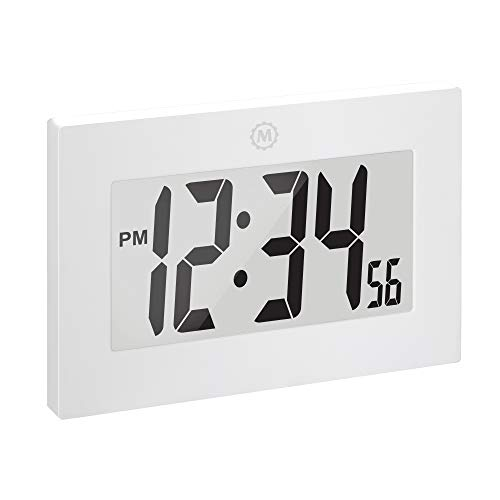 Marathon Large Digital Wall Clock with Fold-Out Table Stand. Size is 9 inches with Big 3.25 Inch Digits. Batteries Included - CL030064WH - (White)