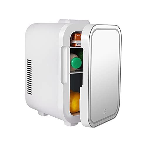 JFIOSD Mini Nevera De Belleza con Espejo De Maquillaje Y Luz LED, 4/6 litros Cuidado De La Piel De Cosméticos Refrigeradores Minibar para Dormitorio, Oficina, Dormitorio, Camping En Coche,4l
