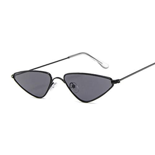 WANGZX Gafas De Sol con Montura Pequeña De Ojo De Gato De Metal para Mujer, Clásicas, Retro, con Película Oceánica, Gafas De Sol con Espejo, Negro