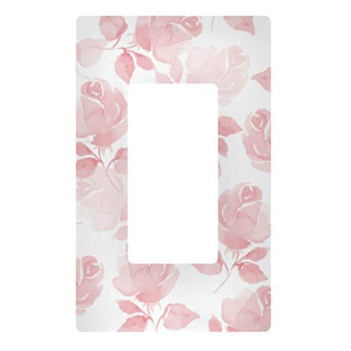 Placa de pared con interruptor de luz decorativa, diseño de flores rosas, cubierta de 2 tomas de corriente eléctrica para dormitorio, cocina, decoración del hogar