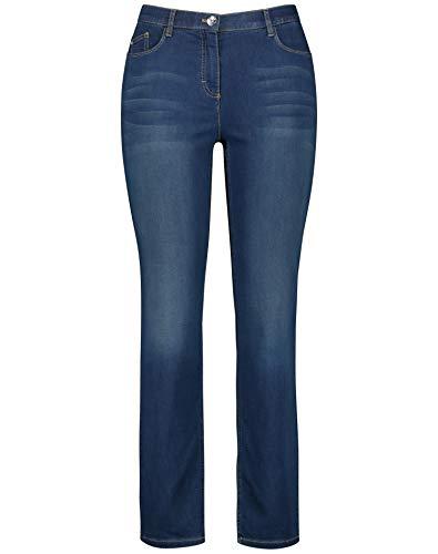 Samoon Damen Jeans Jenny Feminine Passform Dunkelblau Denim 52