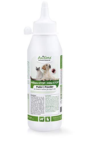 AniForte Milben Stop Puder 250 ml für Hunde, Katzen, Haus- und Hoftiere, Natürliche Abwehr von...