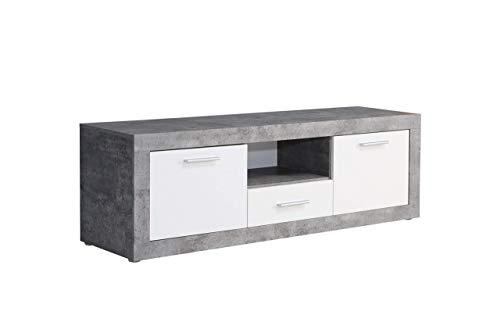 FORTE BACCIO TV-Unterschrank mit 2 Türen und 1 Schubkasten, Holzwerkstoff, Betonoptik Lichtgrau / Weiß, 147,8 x 49,9 x 41 cm