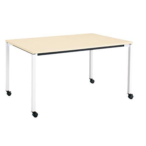 コクヨ ミーティングテーブル JUTO MT-JTK159S81M10-CN 角形天板 4本脚 角脚 スクエアコーナー 幅150×奥行90cm 天板ホワイトナチュラル/脚フラットシルバー キャスター付