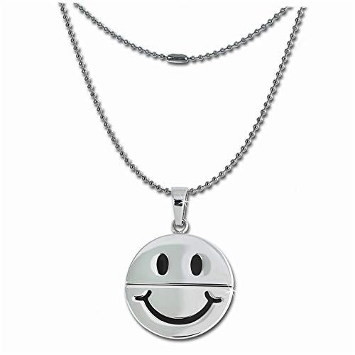 Amello Schmuck Edelstahl–Amello Halskette Lachen Smiley–Halskette aus Edelstahl für Frauen und hommes- ESK031W