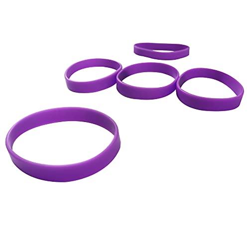LVNRIDS 50 pcs pulseras elásticas de silicona, pulseras de goma personalizables para fiestas deportivas escolares Púrpura