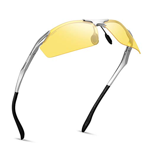 Night Vision Glasses for Men Women - SOXICK Polarized Driving Glasses Anti Glare Adjustable Metal Frame Night Driving glasses (silver)