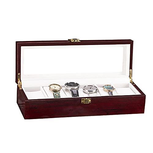 Caja de reloj Caja de reloj con cerradura con tapa de vidrio, Caja de exhibición de reloj Caja de exhibición de joyería de cuero PU para almacenamiento y exhibición Regalo para padre novio