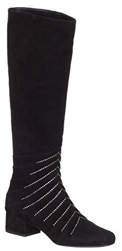 Saint Laurent Women's Black Suede 'Lily' Embellished Crystals Knee Boots Shoes, 7, Black