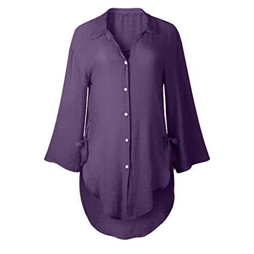 DIPOLA Damen Loose Button Long Shirt Kleid Damen Casual Tops T-Shirt Shirt Freizeit Button Langarm Shirt Damen Langarm-beiläufige lose T-Shirt Damen Tops