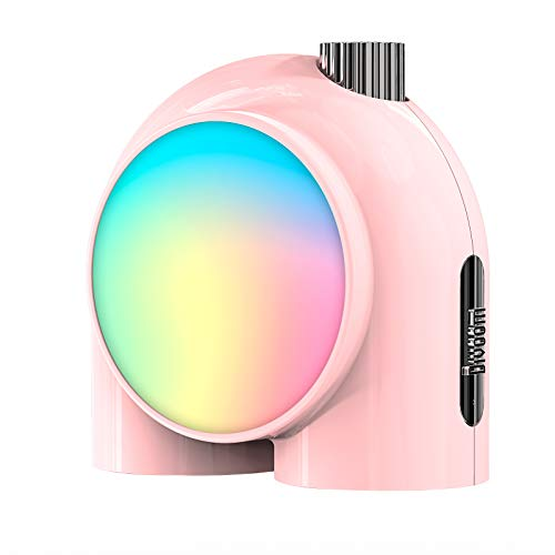 Divoom Planet-9 Smart Mood Lamp, Cordless Table Lamp with Programmable RGB LED for Bedroom Gaming Room Office, Pink