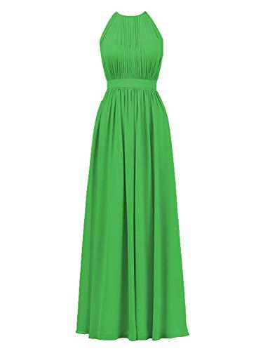 Ballkleider Neckholder Lang A-Linie Chiffon Abendkleider Hochzeitskleid Brautjungfernkleid Rüschen Rückenschlitz Smaragdgrün 32
