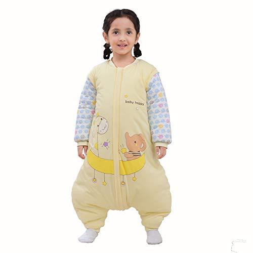 Baby Schlafsack mit Beinen Warm gefüttert Winter Langarm Winterschlafsack mit Füssen,Junge Mädchen Unisex Overall Schlafanzug(L/Koerpergroesse 85-95cm, Gelb/3.5 Tog)