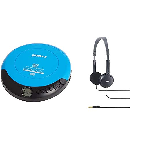 Groov-e Retro Personal CD Player with 20 Track Programmable Memory, LCD Display, Anti-Skip Protection and Earphones Included - Blue & JVC Lightweight Headphones - Black