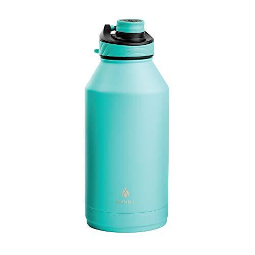 Manna Doppelwandige, vakuumisolierte Edelstahl-Trinkflasche | 1,2 l Konvoy | auslaufsicherer Deckel | Ausgießer Deckel | Türkis (Sea Mist, 1,8 l)
