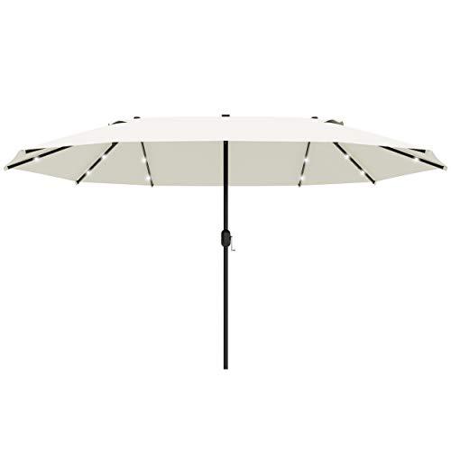 Outsunny 4.4m Double-Sided Sun Umbrella Garden Parasol Patio Sun Shade Outdoor with LED Solar Light, NO BASE INCLUDED, Cream White