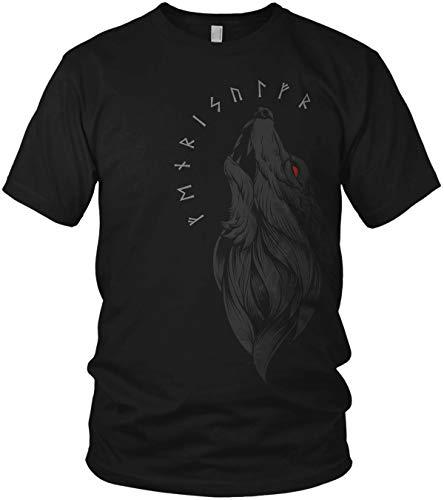 Fenriswolf Runen Wikinger Fenrir Valhalla Rising Walhalla Vikings Wodan - Herren T-Shirt und Männer Tshirt, Größe:XXL, Farbe:Schwarz/Rot