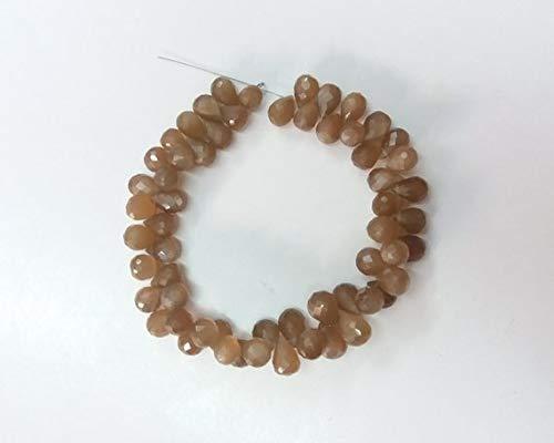 LOVEKUSH 50% Off Edelsteen Sieraden 1 Strand Natuurlijke Chocolade Maansteen Facet Drop Briolette - Drop Beads Meet 5X7-7X9Mm - 8 Inch Lange Briolette Code:- RADE-37959