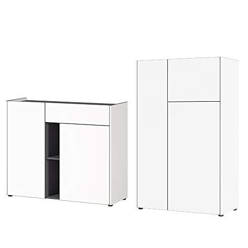 Preisvergleich Produktbild Germania Wohnmöbel-Set 8190-550 GW-Veluva,  inklusive Kommode und Highboard,  in Weiß / Graphit
