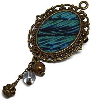 Spilla retro resina pavone piuma blu verde ottone bronzo perline charms regalo personalizzato noel fidanzata mamma complea...