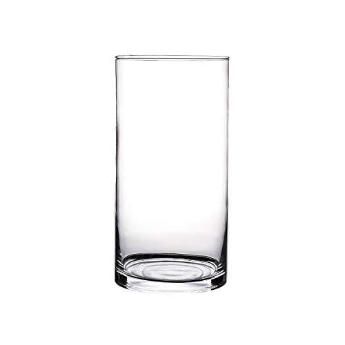 Glasvase, Transparent, KnikGlass Vase Glas Deko Blumenvase für Tischdeko und Hochzeit, Höhe 20 cm (#D)