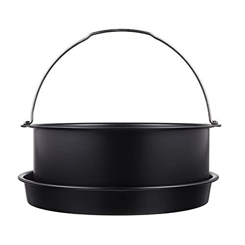 OSALADI Air Fryer Cake Pans Accessories 7 Inch Cake Barrel Carbon Steel Cake Pizza Pan Set Standard Deep Fryers Deep Baking Cake Pan with Handles Dishwasher Safe 2PCS