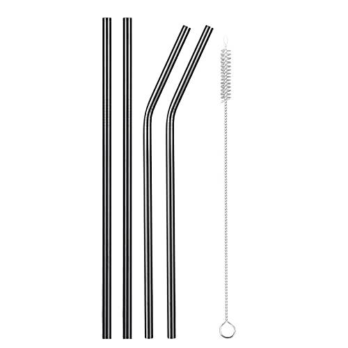 XDZW 4/8pcs Reusable Metal Drinking Straws 304 Stainless Steel Sturdy Bent Straight Drinks Straw blackA