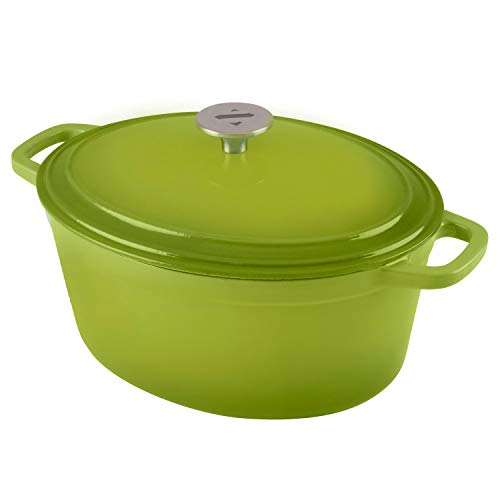 Zelancio Cookware 6-Quart Enameled Cast Iron Oval Dutch Oven Cooking Dish with Skillet Lid, Green