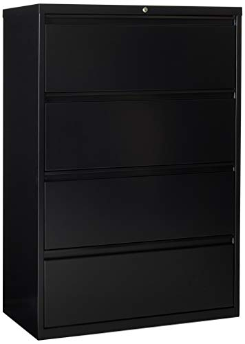 Lorell 4-Drawer Lateral File, 36 by 18-5/8 by 52-1/2-Inch, Black