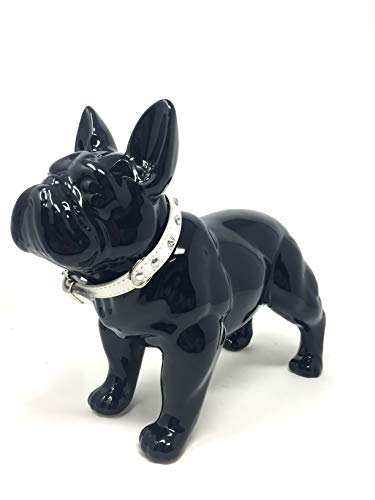 Osiris Trading UK Black French Bulldog with Collar Glossy Porcelain Sculpture Home Decoration Statue Dog Lovers Figure