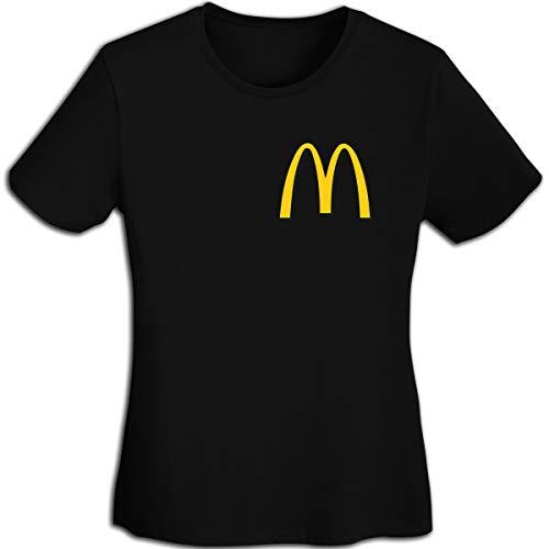 Damen Plain-Mc-Donalds-Logo Logo Merch Kurzarm Bekleidung T-Shirt V-Ausschnitt Tee T Shirt Baumwolle Sommer für Frauen Black M