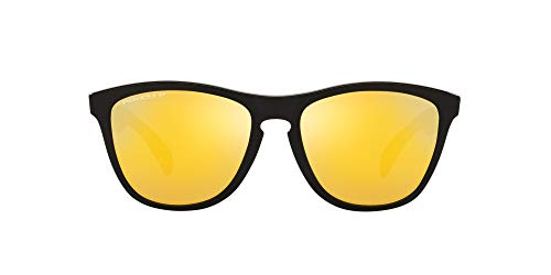 Oakley Men's OO9245 Frogskins Asian Fit Rectangular Sunglasses, Polished Black/Prizm 24K Polarized, 54mm