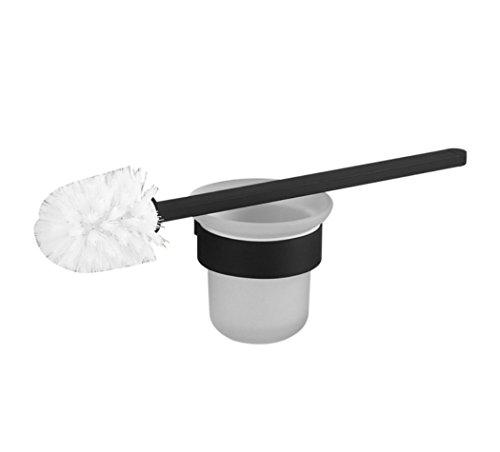 LD&P Salle de bains Tenture murale en acier inoxydable épaississement noir couleur moderne ronde brosse de toilette blanc brosse tête simple nettoyage rond porte-brosse de toilette accessoire