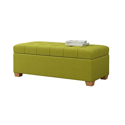 Truhenbank Aufbewahrungshocker European Style Change Schuh Bank Sofa Hocker Schlafzimmer Bett Hocker Aufbewahrungsbox Leinen Rest Hocker Lange Bank GW (Color : Matcha Green, Size : L60×H40×W40cm)