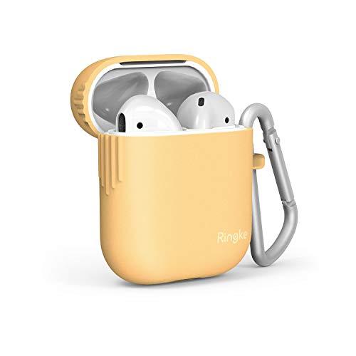 Ringke TPU Case Ontworpen voor AirPods, Zachte Beschermende Skin Cover met Karabijnhaak Compatibel met AirPods 2 Wireless Charging Case - Honey Mustard