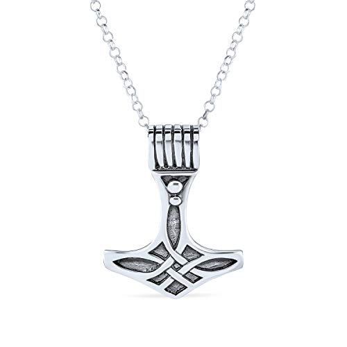 Celtic Knot Viking Thors Hammer Pendant Necklace For Men For Women Oxidized 925 Sterling Silver With Chain