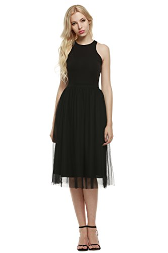 Zeagoo Damen Brautjungfernkleid Ballkleid Partykleid Tüll Kleines Schwarzes Kleid Sommer Abendkleid