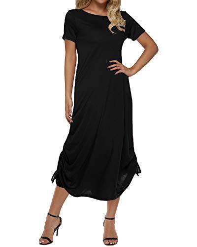 Zanzea Damen Schulterfrei Lange Asymmetrisch Kleid Kurzarm Abend Sommer Maxi Strandkleider Schwarz X-Large