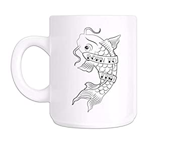 Fish Mug Fishing Coffee Mug Present For Fisherman Born To Fish Tattoo Teacup B41K12