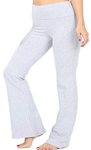Zenana Women's Plus Size Stretch Cotton Fold Over Waist Flare Leg Yoga Pants - H Grey - 1XL