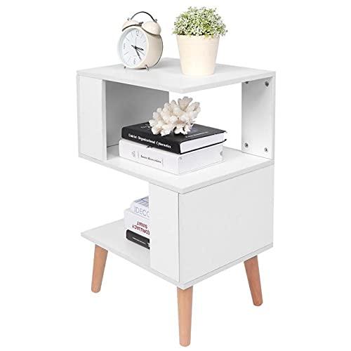 Omabeta Mesita de noche organizador de almacenamiento de dormitorio tablero de partículas + mesa auxiliar de madera maciza elegante para el hogar, dormitorio, sala de estar (blanco)