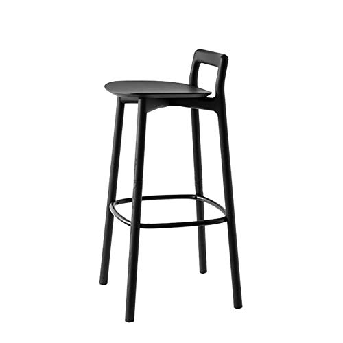 JPX Taburetes Altos De Bar Cocina Comercial Bar Modernas sillas de Madera Maciza Duradera Trona oficinas taburetes for la Cocina Cafe Casa de Venta de recepción (Color : Black)