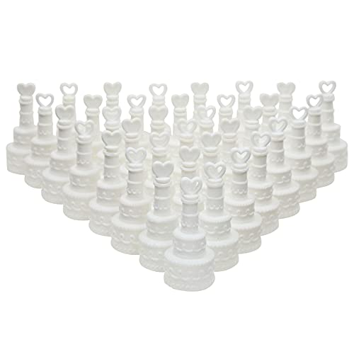 Wedding Bubbles for Reception Party Favors, White Tier Cake Design (144 Pack)