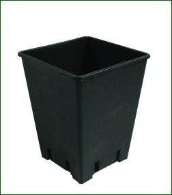 Topf, viereckig, schwarz, 18 x 18 x 23 cm, 6 L